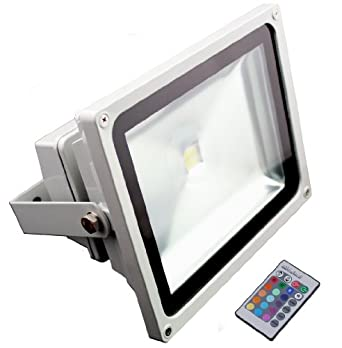50W RGB Color-changing Outdoor LED Flood Light w/ IR Remote - 120 Degree Beam Angle - Epistar COB LED - Waterproof IP65