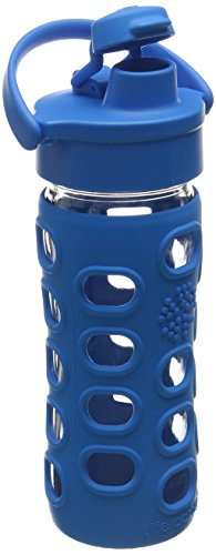 Lifefactory 12-Ounce BPA-Free Glass Water Bottle with Flip Cap & Silicone Sleeve, Ocean (Lifefactory Water Bottle Flip Top compare prices)