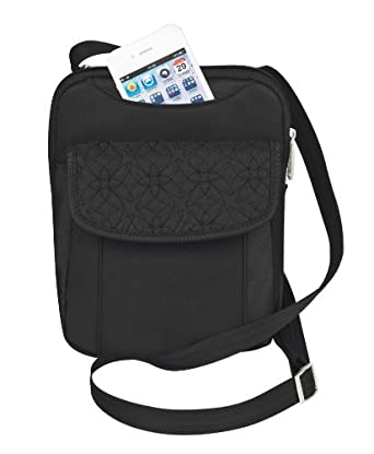 Travelon Anti-Theft Slim Pouch With Stitching, Black, One Size