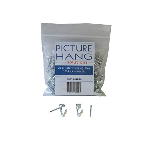 100 Pack of 20 lb Picture Hanger Hooks with Nails