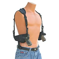 This horizontal double shoulder holster fits all Autommatics with 4.5 to 5 barrels... by Protech