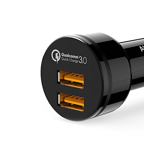 AUKEY Quick Charge 3.0 Cargador de Coche 36W Dual Puerto para Samsung S7, S6, HTC One A9, LG G5, Nexus 6, iPhone 6s y otros Dispositivos iPhone; Incluye Cable Micro USB de 1 Metro (Negro)