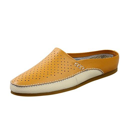 Vanghe & mazze in pelle da uomo estivo traspirante sul retro aperto-Pantofole con suole per scarpe, suola piatta, Giallo (giallo), 40 EU