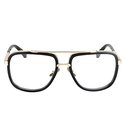 Vintage Men's Oversized Big Square Metal Frame Myopia Optical Eyeglasses 1