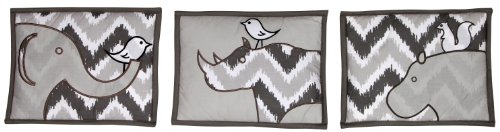 Bacati - Safari Ikat White/grey 3 Pc Wall Hanging Set