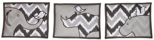 Bacati - Safari Ikat White/grey 3 Pc Wall Hanging Set