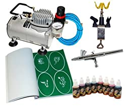 DELUXE AIRBRUSH TATTOO KIT 8 Includes: COMPRESSOR, HOSE, AIRBRUSH, INK, AND STENCILS