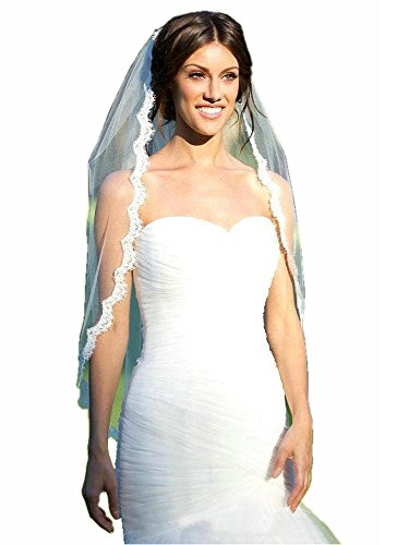 MisShow Women's Ivory 1 Tier Elegent Lace Appliques Wedding Veil With Comb,Ivory,One Size