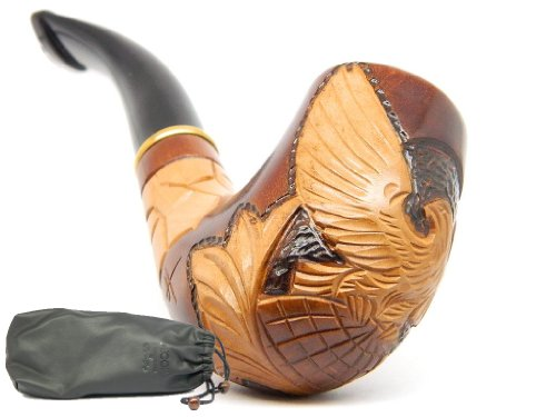 "Wooden Tobacco Smoking Pipe ""Eagle on Globe"" Hand finished, Collectible plus Gift POUCH"