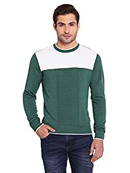 Bunai Green Knitted Cotton Color Blocked Pullover