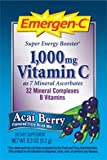 Alacer, Emergen-C, 1,000 Vitamin C, Acai Berry Flavored Fizzy Drink Mix, 30 Packets, 0.3 oz (9.2 g) Each