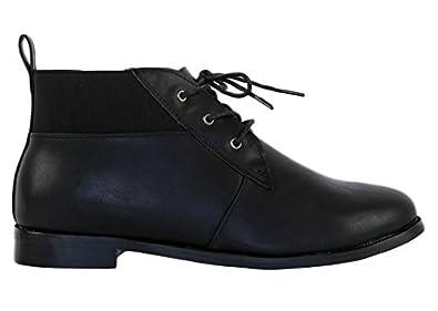 bottines d 39 hiver lacets talon plat style r tro femme chaussures et sacs. Black Bedroom Furniture Sets. Home Design Ideas