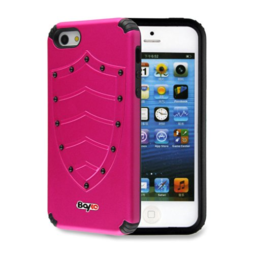 Bayke Brand / Apple Iphone 5 & Iphone 5S 2-Piec Dual Layer Design Impact Resistant Bumper Prime Extreme Protection Hybrid Heavy Duty Protective Slim Armor Defender Case Without Built-In Screen Protector (Hot Pink Shield Design)
