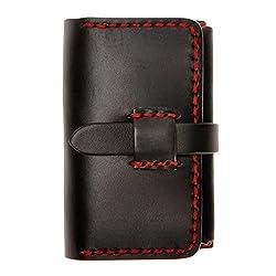 ZLYC Unisex Handmade Vegetable Tanned Leather Belt Closure Slim Wallet Card Case, Black