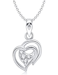 Vina Admirable Heart Shape Rhodium Plated Alloy Pendant With Chain For Women & Girls Made With Cubic Zirconia...