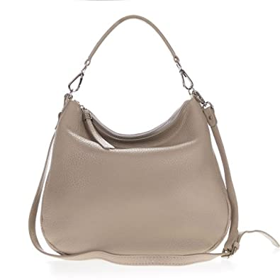 Gianni Chiarini Italian Made Beige Pebbled Leather Slouchy Hobo Bag