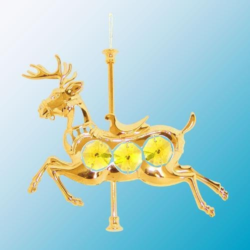 swarovski crystal shop on sale  24k gold carousel reindeer