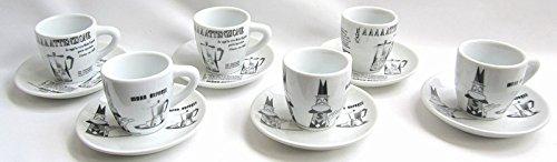 Bialetti Service de 6 tasses à café avec sous-tasses en porcelaine décorée Motifs Carosello