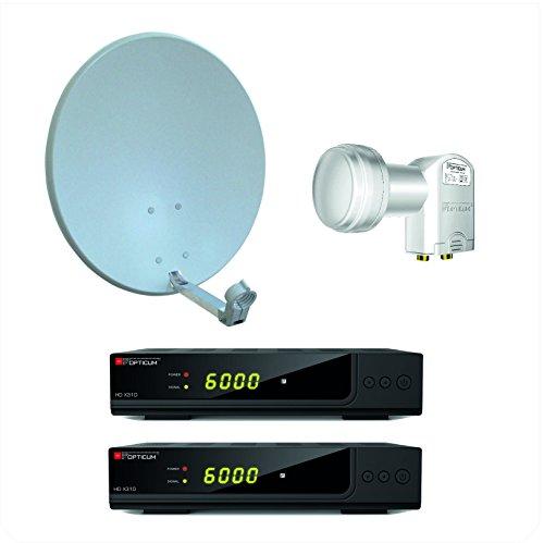 Opticum X310 digitale 2 Teilnehmer HD Anlage (X310 HD DVB-S2 Receiver, Twin LNB - LTP- 04H mit vergoldeten Kontakten, X60 SAT Antenne mit Stahlrücken) lichtgrau