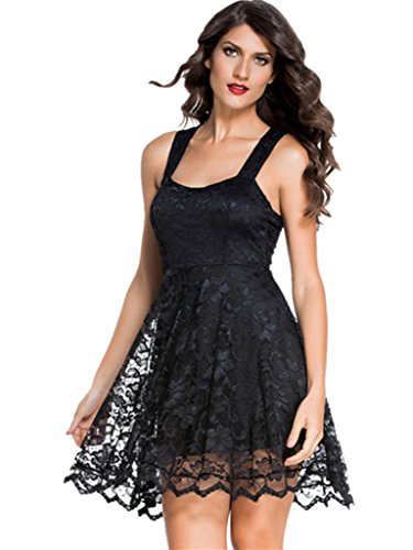 ABERRY Women Sexy A-Line Black Lace Sleeveless Backless Short Homecoming Dress Cocktail (Wet Seal Tops compare prices)