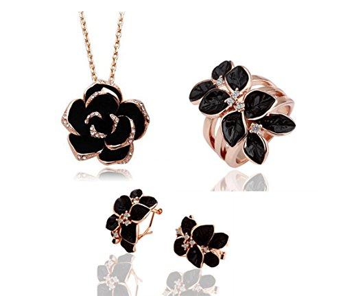 mas-querida-oro-amarillo-negro-rose-ocho-petalos-flor-joyeria-set-collar-anillo-pendientes