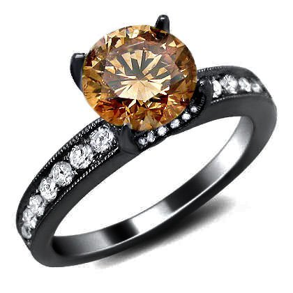 1.90Ct Brown Round Diamond Tulip Set Engagement Ring 18K Black Gold Rhodium Plating Over White Gold