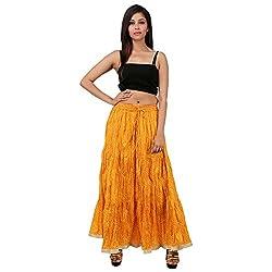 Stylish Yellow Cotton Lehariya Skirt