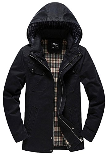 Wantdo Men's Cotton Lightweight Jacket with Removable Hood US Small Black (Lightweight Black Hood compare prices)