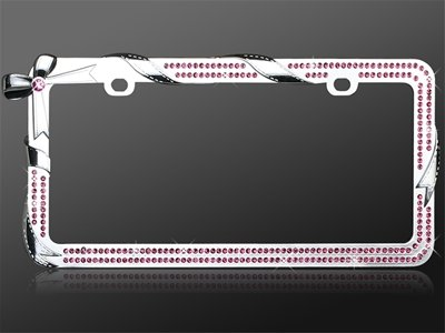 Car Automotive License Plate Frame Chrome Coating Metal with Pink Diamonds Crystals Rhinestones Bling Charming Bow Tie Ribbon Wrap DesignCar Automotive License Plate Frame Chrome Coating Metal with Pink Diamonds Crystals Rhinestones Bling Charming Bow Tie Ribbon Wrap Design