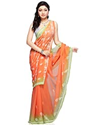 Utsav Fashion Women's Peach and Neon Green Viscose Georgette Saree with Blouse
