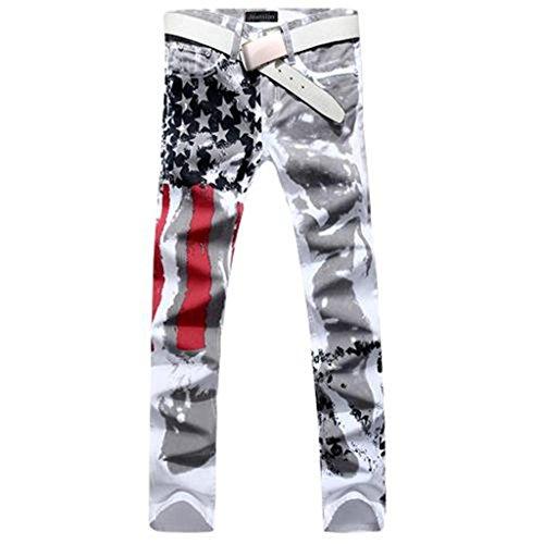 Jeansian Moda Pantaloni Casual Uomo Jeans Stampa Denim Sottile Uomini Tendenze J229 White W32
