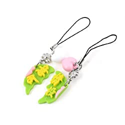 Butterfly Shape Chinese Characters Prints Cell Phone Charms 2 Pcs for Lovers