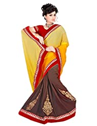 Winza Faux Georgette Saree With Blouse Piece (Half Half Yellow/Cemen Red Lace Saree _Yellow)
