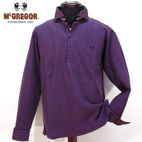 2704 長袖 カットソー Tシャツ 重ね着風 男性 紳士服 メンズ McGREGOR マクレガー パープル(紫) L
