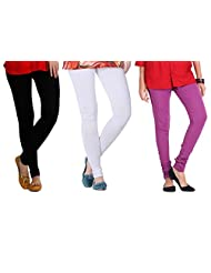 2Day Women's Cotton Black/White/Voilet Churidaar Legging (Pack Of 3)