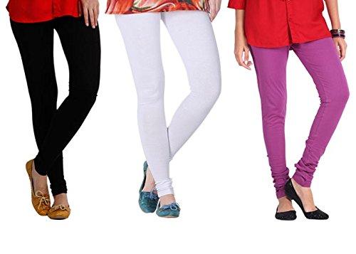 2Day Women's Cotton Black/White/Voilet Churidaar Legging (Pack Of 3)