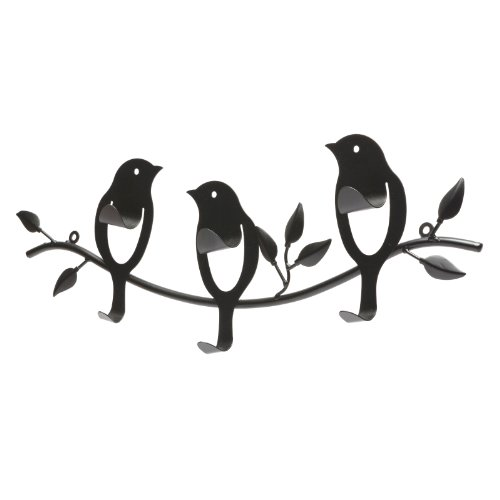 Bird-Design Wall Mounted Black Metal 6-Hook Rail / Garment Rack for Hanging Coats / Towels