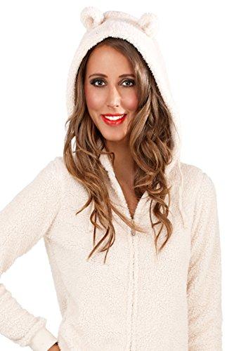 Womens Boutique Tuta Con Cappuccio Con Orecchie Sherpa In Pile loungewear Cream Taglia - S