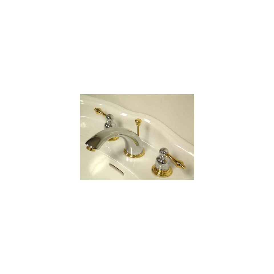 Kingston Brass KB974AL Victorian Widespread Lavatory Faucet with Metal lever handle, Polished Chrome and Polished Brass