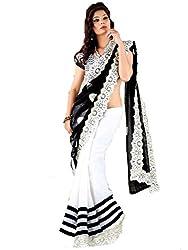 Nilkanth Enterprise Style White Embroidered Designer Saree