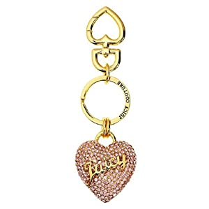Juicy Couture Rose Pave Heart Key Chain Ring YSRU2720