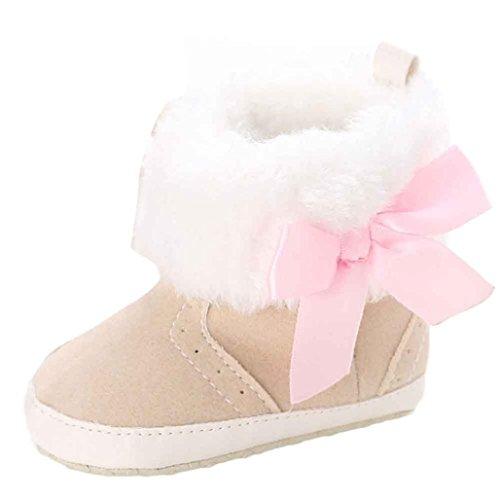 Kingko® Neonata scarpe tenere in caldo morbido Sole Snow Boots morbida greppia Stivali scarpe bambino (0~6 Mesi, Cachi)