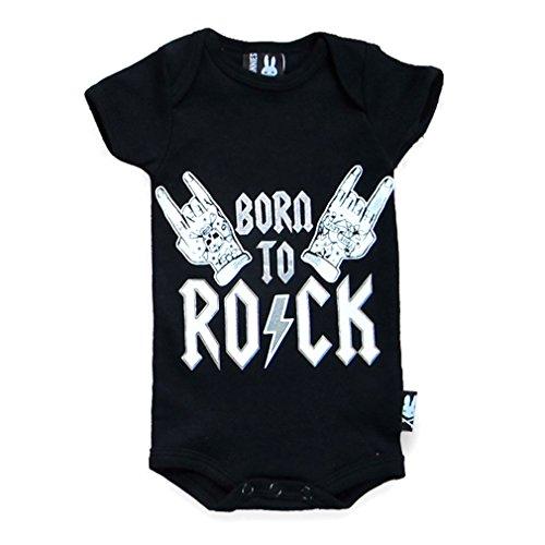 SIX Bunnies Baby body Heavy Metal-Born To Rock 2pagliaccetto Nero nero 0-3 Mesi
