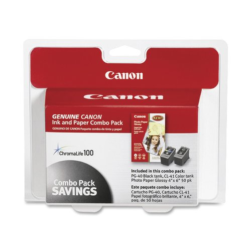 Canon 0615B009 Pg-40/Cl-41 Cartridges And Glossy Photo Paper Combo Pack front-523950