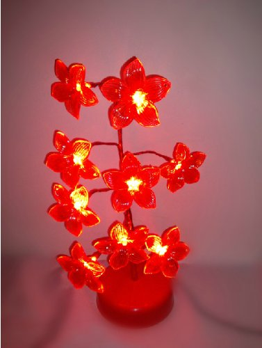 Domire Mini (Red) Lily Tree Usb / Battery Led Light Lamp Home Desk Festival Christmas Decoration Colorama Ornaments