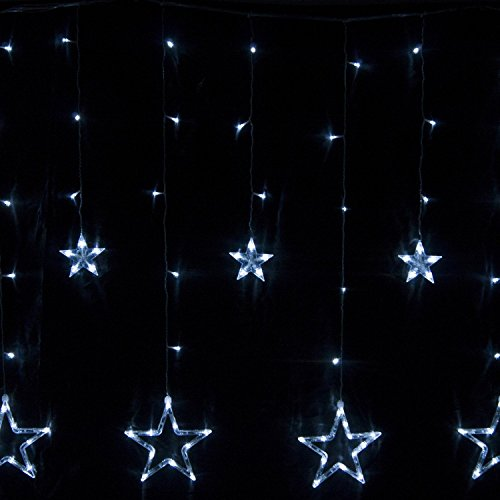 Dashuhuwai(Tm)Led Curtain Light Star-Shaped At The End, Ideal For Christmas, Party Or Other Celebrations And Occasions. Waterproof Meet Rohs Certification. 110V 8 Function Modes. Choose Your Favorite Model Best Price Of The Season Get Yours Now! (White)