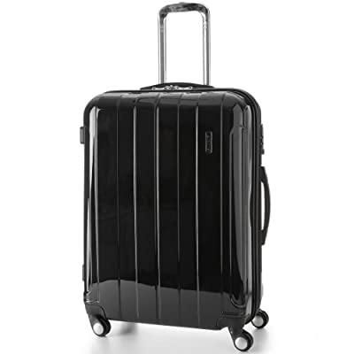 "5 Cities® Lightweight Hard shell Travel Luggage Suitcase- 4 Wheel Spinner Trolley Bag 21"" Fits 55x40x20cm, 26"" 63x48x28cm, 29"" 73x56x32cm (5 Years Guarantee) (25, Black 525)"