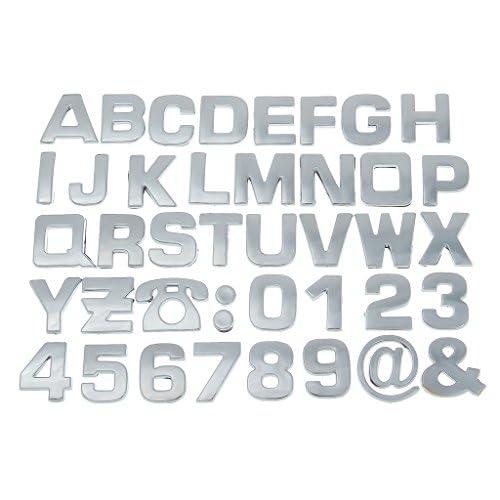 (ラボーグ) La Vogue メッキ シルバー カー ステッカー シール 3D立体 アルファベット A-Z組合自由 バイク DIY 装飾用 飾り M銀色英字 10枚セット
