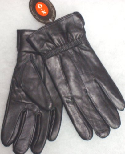 Black Genuine Leather Microfiber Lined Ladies Gloves Size Large