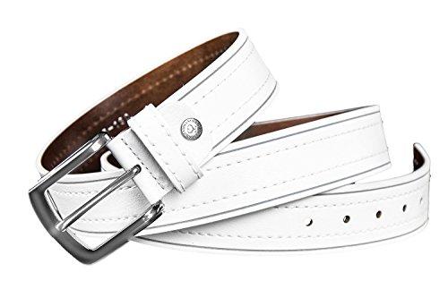 Cintura uomo SOLO SOPRANI cinta bianca con impunture centrali 120 cm R5090